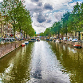 Waterways of Amsterdam by Pravine Chester - City,  Street & Park  Historic Districts ( canals, street, buildings, waterways, amsterdam, architecture, places of interest, places, cityscape, homes, netherlands, city )