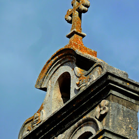 bell tower by Čedna Dadić - Buildings & Architecture Architectural Detail ( bell, old, church, blue, grey, cross )
