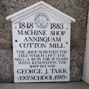 1848   1883MACHINE SHOPANNISQUAMCOTTON MILL THE SHOP SURVIVED THEFIRE WHICH LEFT THEMILL A RUIN FOR 18 YEARSWITH RENOVATION THESHOP BECAME GEORGE J. TARR 1907  SCHOOL   1989