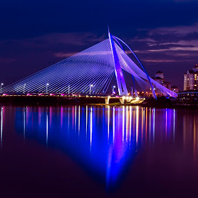 Putrajaya Bridge by Mohammad Khairizal Afendy - Landscapes Waterscapes ( waterscape, putrajaya, night, bridge, landscape,  )
