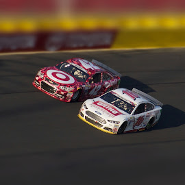 Side-by-Side #1 by Richard Alford - Sports & Fitness Motorsports ( drivers, roush fenway racing, coca-cola 600, stock car, driving, chip ganassi racing, #16, greg biffle, racers, race, kyle larson, charlotte motor speedway, cars, speedway, racing, drive, fusion, target camo, ss, charlotte, ford, ortho, nascar, #42, speed, track, chevy, ortho home defense, chevrolet, target, racer, fast )