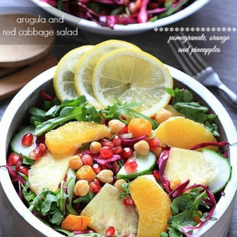 Arugula Salad with Red Cabbage, Pomegranate, Orange and Pineapples