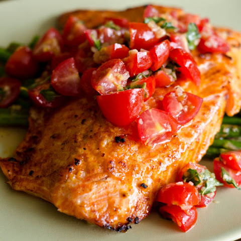 Salmon With Cherry Tomato Salsa And Asparagus