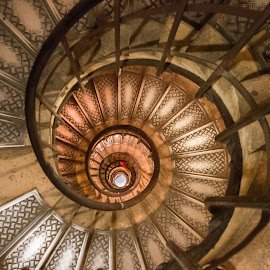 Spinning by Jernej Grosar - Abstract Patterns ( stairs, yellow, high, spiral )