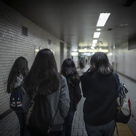 walking home from akasaka station by Roger Foo - People Street & Candids ( tokyo, akasaka, japan, family )