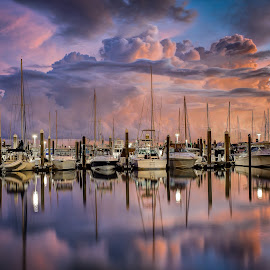 Before the Storm by Jim Hamel - Transportation Boats ( clouds, sailboats, florida, miami, marina, key biscayne )