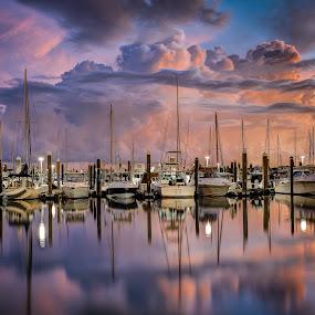 Before the Storm by Jim Hamel - Transportation Boats ( clouds, sailboats, florida, miami, marina, key biscayne )