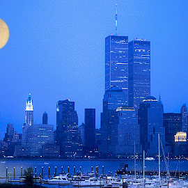 New York Blues by Maggie Magee Molino - City,  Street & Park  Skylines ( moon, blue, nyc, new york, evening, moonrise, river,  )