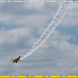 Bi-Plane by Sandy Stevens Krassinger - Transportation Airplanes ( contrails, airplane, bi-plane, yellow, transportation )
