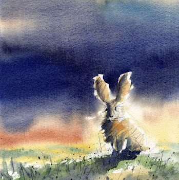 Hare rabbit art painting original watercolour
