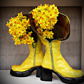 Spring in Yellow Boots by Amas Art - Flowers Flower Arangements ( still life, yellow, flowers, spring, photography, boots )
