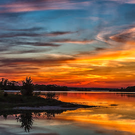 Monk Park Sundown by Carl Albro - Landscapes Sunsets & Sunrises ( clouds, waterscape, sundown, trees )