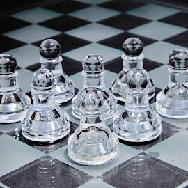 Chess pawns by Peter Salmon - Artistic Objects Glass ( clear, chess, glass, light, pawns )