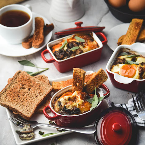 Eggs en Cocotte (Baked Eggs) with Sausage & Browned Butter Sage Mushrooms