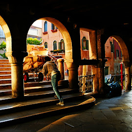 worker in venice by Ni Francisco - City,  Street & Park  Street Scenes ( venice, italy,  )