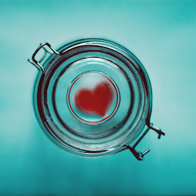Fragile by Diana Grigore - Artistic Objects Other Objects ( heart, cyan, jar, solitude, shy, timid )