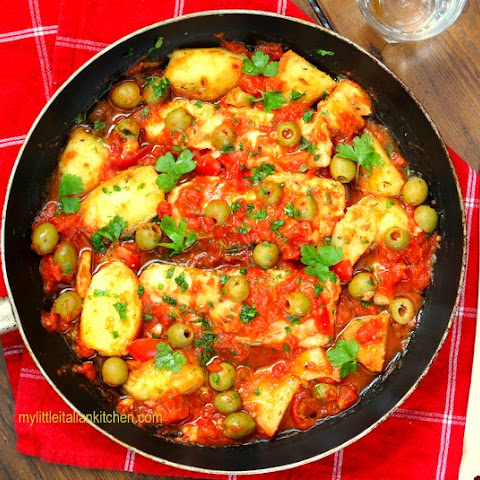 Tasty Fish Bake with tomatoes and potatoes