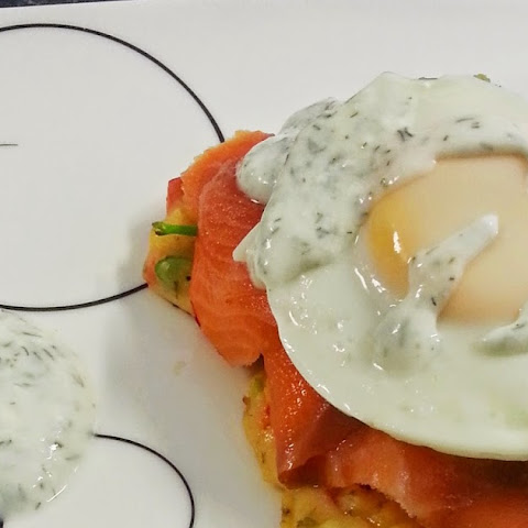 Healthy Corn Pancakes with Salmon and Avocado - Weekend Breakfast of Omanomanom
