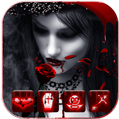 Free Download Red Rose Vampire Girl Theme APK for Samsung