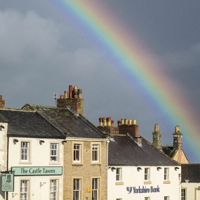 Rainbow over Richmond by Del Candler - City,  Street & Park  Skylines ( north yorkshire, england, richmond, buildings, chimneys, rainbow, rooftops, georgian architecture,  )