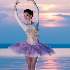 Ballerina sunset by MIHAI CHIPER - People Portraits of Women ( water, sunset, pink, ballerina, dance )