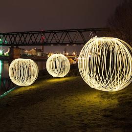 The orbs under the bridge by Vedran Ristić - Abstract Light Painting ( light orbs, osijek, lightpainting, croatia, beach, railway bridge, river )