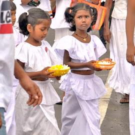 Childen at Ceremony by Jaliya Rasaputra - Babies & Children Children Candids