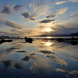 reflections in the beach by Marius Birkeland - Landscapes Beaches ( clouds, reflection, ocean, beach, sun )