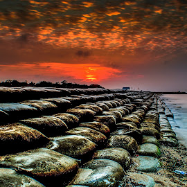 The red sky by Arek Embongan - Landscapes Sunsets & Sunrises