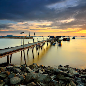 Twilight at pier by Irwansyah St - Landscapes Sunsets & Sunrises ( water, indonesia, sunset, pier, sunrise, landscape, sun, batam )