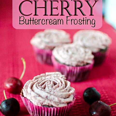 Chocolate Cupcakes with Cherry Buttercream Frosting