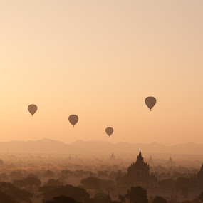 Balloons over Bagan Sunrise by Black Mutant - Landscapes Travel ( myanmar, pagoda, sunrise, bagan )