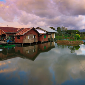 by Macbrian Mun - Landscapes Waterscapes ( countryside, wood, exterior, travel, house, architecture, float, sabah, borneo, asian, colour, sky, nature, village, weather, place, live, orange, tourism, lake, malaysia, rural, destination, roof, tourist, environment, vacation, season, outdoors, floating, scene, view, natural, culture, cabin, home, reflection, colorful, vivid, tropical, beauty, landscape, restaurant, mirror, tranquil, life, cottage, tradition, asia, harmony, pond, clouds, water, building, houses, stay, peaceful, hut, green, beautiful, traditional, scenic, living, wooden, red, sceneries, blue, outdoor, cloud, architectural, summer, scenery, reflect, river )