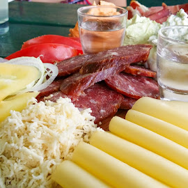 Homemade cold cuts by Aleš Maučec - Food & Drink Meats & Cheeses ( sausage, paprika, tomato, colors, food, alcohol, drink, cheese, delicious, homemade )