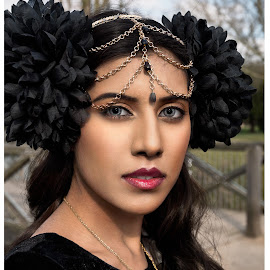 The Black Pearl Head Dress by Huet Bartels - People Portraits of Women ( head dress, felmale;, designer, pixified bootique, portrait, eyes, city at night, street at night, park at night, nightlife, night life, nighttime in the city,  )