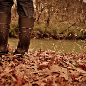 Boots on a Rainy Day  by Sawyer Jones Photography  - People Body Parts ( december, for sale, rainy, dark, jeans, self portrait, leaves, portrait, print, boots, river )