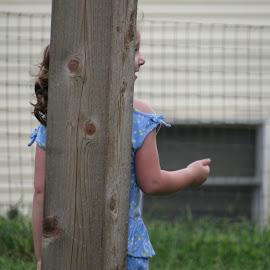 I can see you by Sandy Stevens Krassinger - Babies & Children Children Candids ( hiding, pony tail, profile, girl, child )