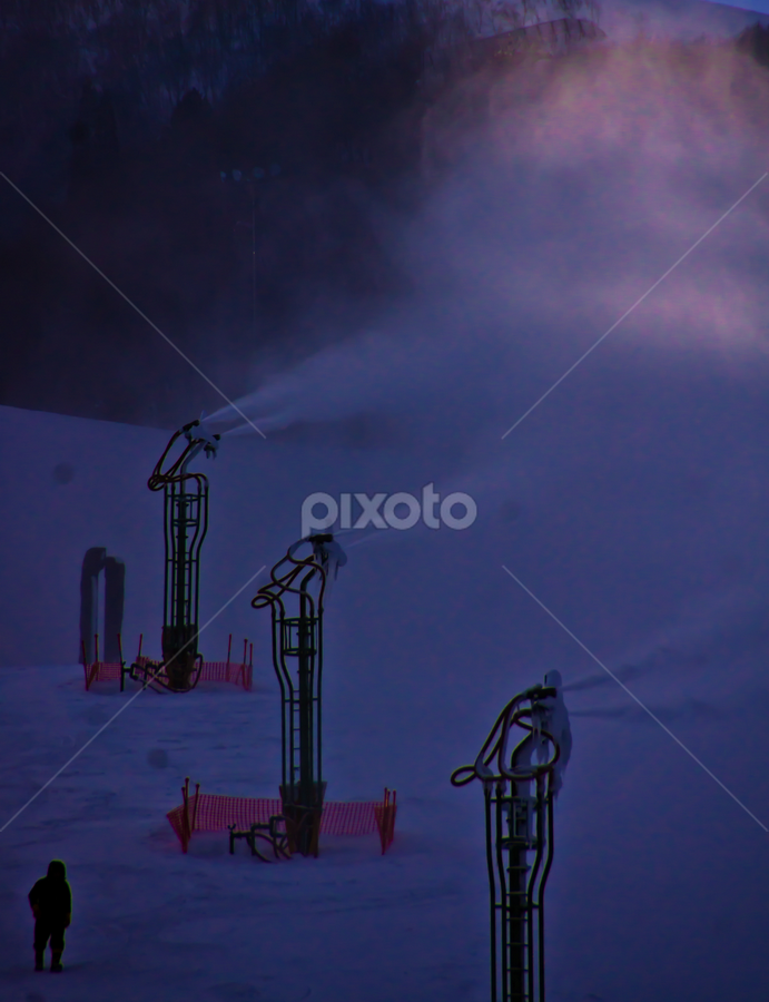 Snow Making by Petra Bensted - Products & Objects Technology Objects ( cold happo ono, japan, winter, worker, snow making )