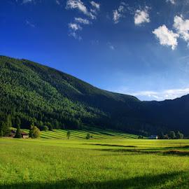 20160923-DSC_6438 by Zsolt Zsigmond - Landscapes Prairies, Meadows & Fields ( clouds, hill, sky, mountain, blue, green, meadow, trees, light, schneeberg, austria )