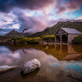 Serenity by Rebecca Ramaley - Landscapes Waterscapes ( reflection, cradle mountain, sunset, boat shed, dove lake )