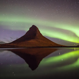 Aurora Borealis by Wim Denijs - Landscapes Mountains & Hills ( polarlight, kirkjufell, reflection, iceland, aurora )