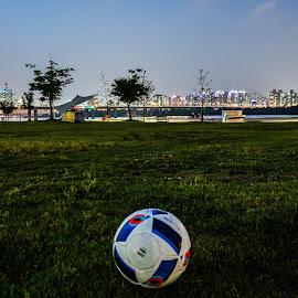 Hangang park by Iordan Daniel Teodorescu - City,  Street & Park  City Parks ( ball, park, grass, night, river )