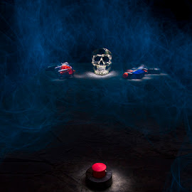 by Jamie Rabold - Abstract Light Painting ( smokey, skull, guns, light painting, lighting, button, elwire )