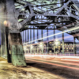Tyne Bridge Trails by Adam Lang - Buildings & Architecture Bridges & Suspended Structures ( street, light trails, gateshead, newcastle, tyne bridge, road )
