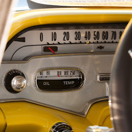 yellow dash of numbers by Eva Ryan - Transportation Automobiles ( auto dashboard, numbers, odometer, yellow,  )