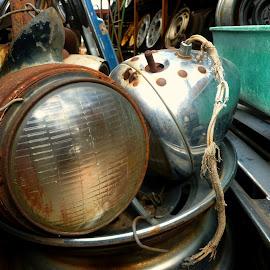Head Lighten Up by Jennifer Ablicki - Artistic Objects Antiques ( lamp, headlight, auto, junk yard, light )