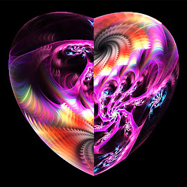 Heart, Swirl by Cassy 67 - Illustration Abstract & Patterns ( purple, swirl, digital art, spiral, fractal, digital, fractals )