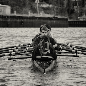 Power Procedure by Chris Mare - Sports & Fitness Watersports ( water, watersports, black and white, rowing, crew, action )