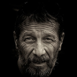 postman by Rado Krasnik - People Portraits of Men ( look, sepia, black and white, portrait, man )