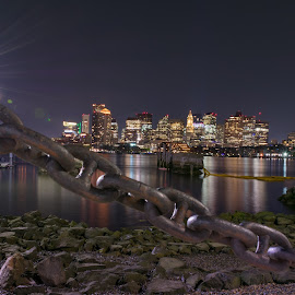 Boston chain  by Paul Gibson - City,  Street & Park  Skylines ( boston, chain, reflection, night, nightscape, long exposure, skyline, starbursts,  )